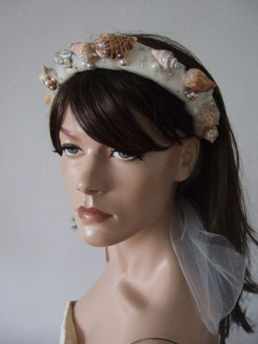 "Seashell Pearls + Tulle Embellished Padded Headband Beach Wedding Bride Honeymoon Headpiece  ""Rosie"""